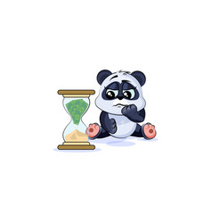 Sad panda bear sticker emoticon sits at hourglass vector