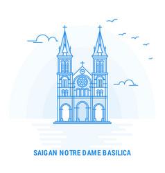Saigan notre dame basilica blue landmark creative vector