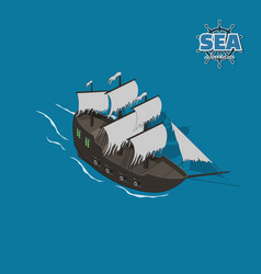 Sailer ghost on a blue background vector