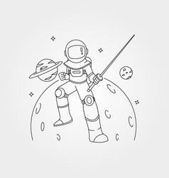 Samurai astronaut line art symbol with planet vector