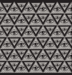 seamless pattern with pyramids and all-seeing eye vector image