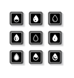 Set button with drops vector