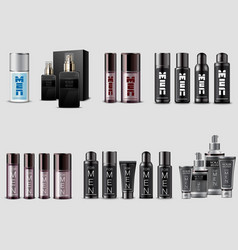 Set men cosmetic packaging on white background vector