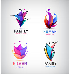 set men people group family logos vector image