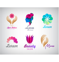 Set of beauty salon massage cosmetics vector
