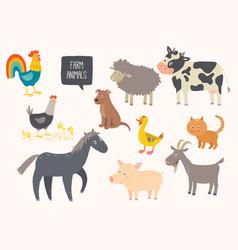 Set of cute farm animals horse cow sheep pig vector