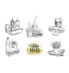 set of fast food in sketch vector image