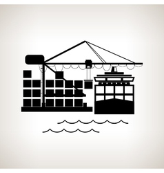 Silhouette cargo container ship and cargo crane vector