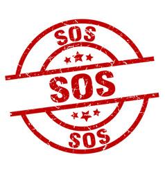 sos round red grunge stamp vector image