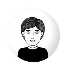 Sphere half body guy with black t-shirt vector