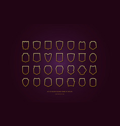 stock golden colored hollow shields silhouettes vector image