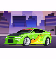 Street racing in city scene with chasing police vector
