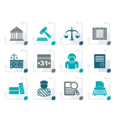Stylized justice and judicial system icons vector