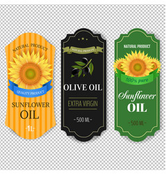 Sunflowers and olive oils labels isolated vector
