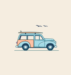 surfing car retro blue suv truck with surfboard vector image