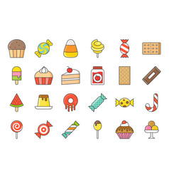 sweets and candy icon set 22 filled outline style vector image