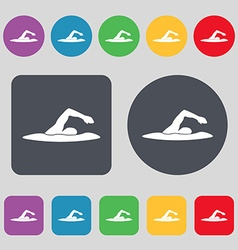 Swimmer icon sign A set of 12 colored buttons Flat vector