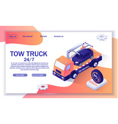 Text banner with offer tow truck assistance vector