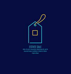 the linear logo for the sale of real estate on a vector image