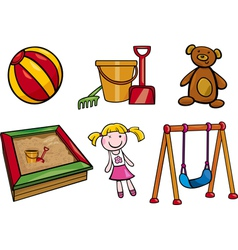 Toys objects cartoon set vector