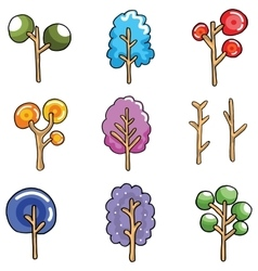 Unique tree collection of doodles vector