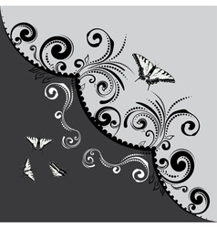 Vintage Floral with Butterflies4 vector image