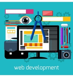 Web design and development flat concept vector image