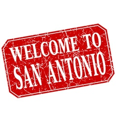 Welcome to San Antonio red square grunge stamp vector