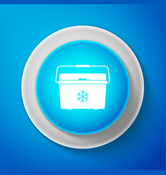 White cooler bag icon isolated on blue background vector