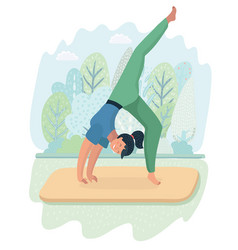 woman posture yoga with park background vector image
