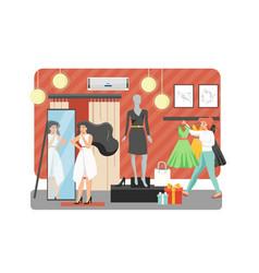 woman shop flat style design vector image