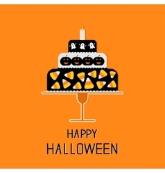 Cake with candy corn pumpkin ghost and candle vector image vector image