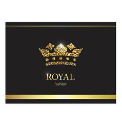gold crown luxury label emblem or packing logo vector image