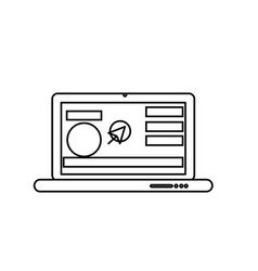 Line laptop with business website and arrow cursor vector