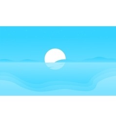 Silhouette of beach and moon vector