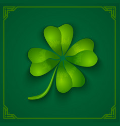3d clover on green background vector image vector image