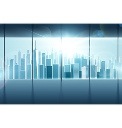 Big window with views of city vector image vector image