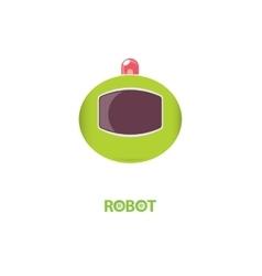 funny green robot head logo design vector image