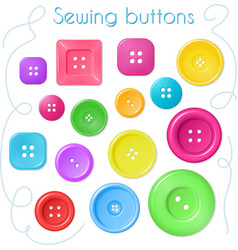 hand drawn set of coloured sewing buttons - top vector image