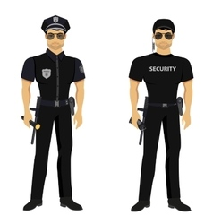Security and Police guards isolated vector image