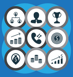 Set of 9 management icons includes cellular data vector