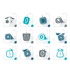 stylized abstract square fruit icons vector image vector image
