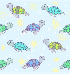 turtles background vector image vector image