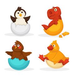 baby animals hatch eggs or cartoon pets hatching vector image vector image