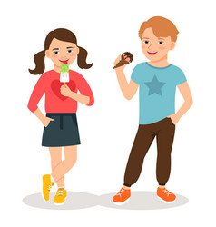 cartoon children eating ice cream vector image