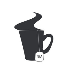 emblem of a cup of tea with a sachet and a steam vector image vector image