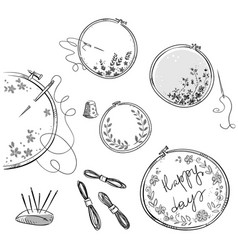 embroidery set drawing vector image vector image
