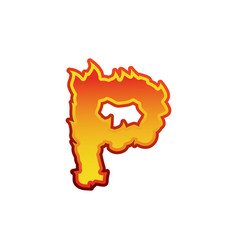 Letter p fire flames font lettering tattoo vector