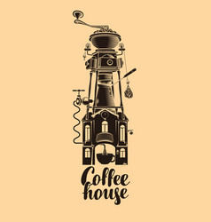 sign coffee house with grinder in roof vector image vector image