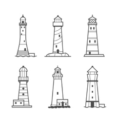 Simple icon or logo set of lighthouses vector image
